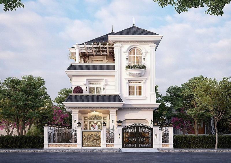 Mẫu biệt thự 3 tầng tân cổ điển 2 – Thiết kế phổ biến tại các khu đô thị mới