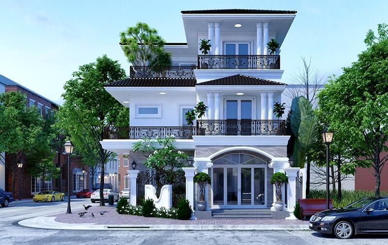 Mẫu biệt thự tân cổ điển 3 tầng đẹp 3 – nhà phố hai mặt tiền