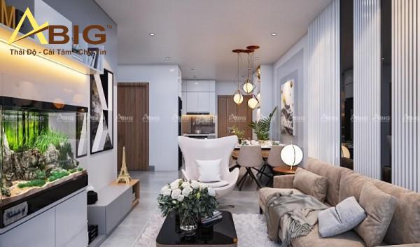 Thiết kế nội thất căn hộ sử dụng các vật liệu cao cấp cùng gam màu thời trang hợp xu thế tạo nên sự khác biệt