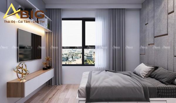 Phòng ngủ master được thiết kế đơn giản nhưng đẹp mắt là nhờ biết cách tận dụng diện tích