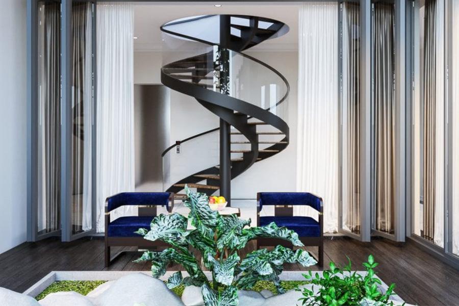 Mẫu cầu thang xoắn ốc trong nhà phong cách hiện đại.