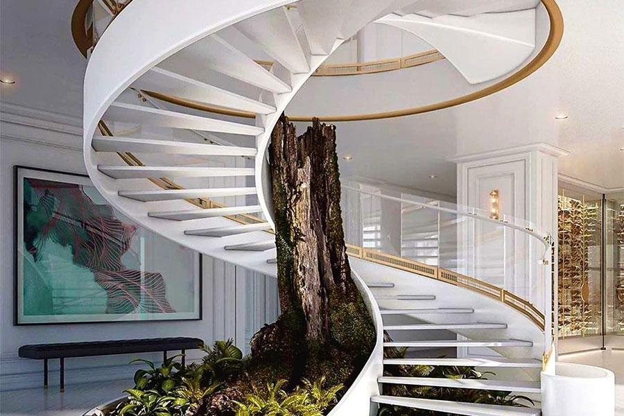 Mẫu cầu thang xoắn kết hợp giếng trời trong nhà tuyệt đẹp.