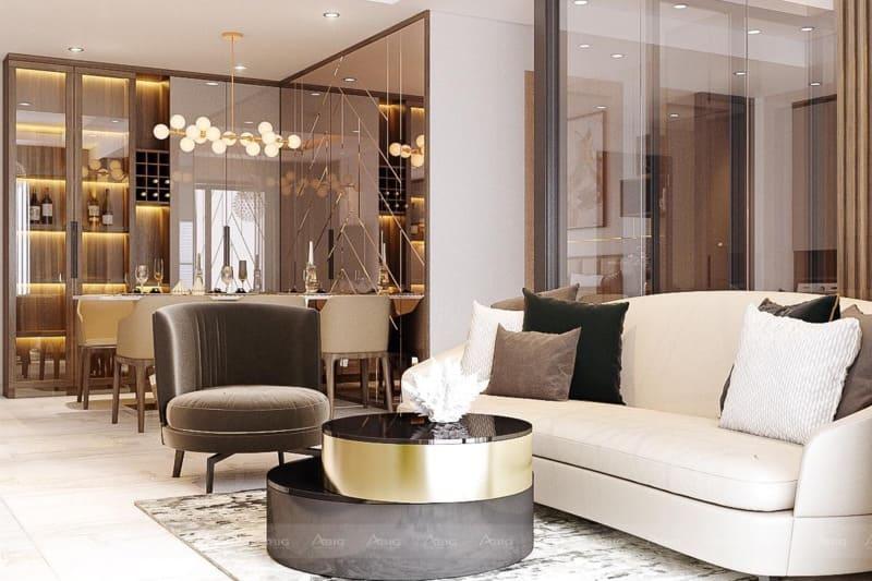 các chi tiết nội thất được mạ vàng sáng bóng lấp lánh