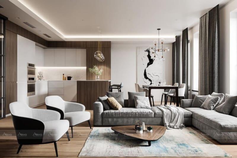 căn hộ chung cư được thiết kế theo phong cách hiện đại với 4 màu sắc nâu be trắng đen