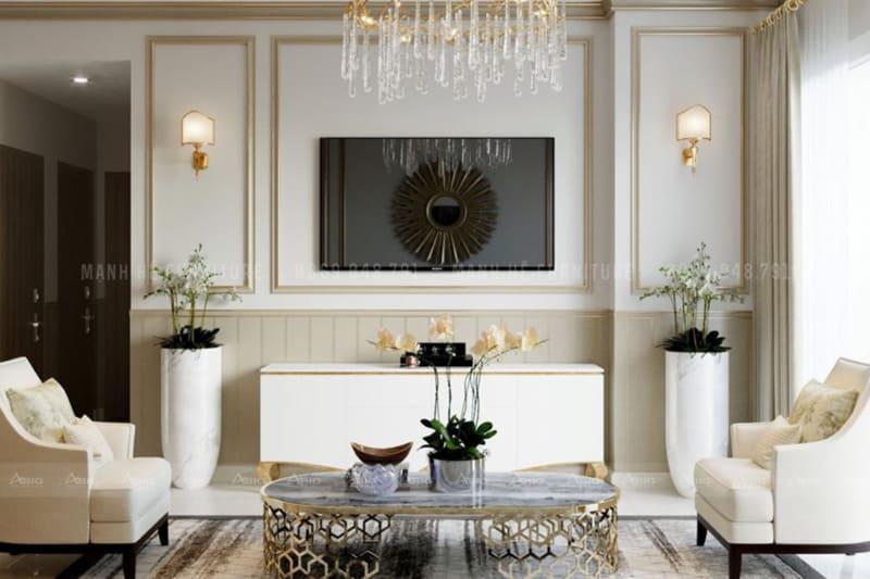 không gian phòng khách được phân chia bố cục màu sắc với tỷ lệ vàng
