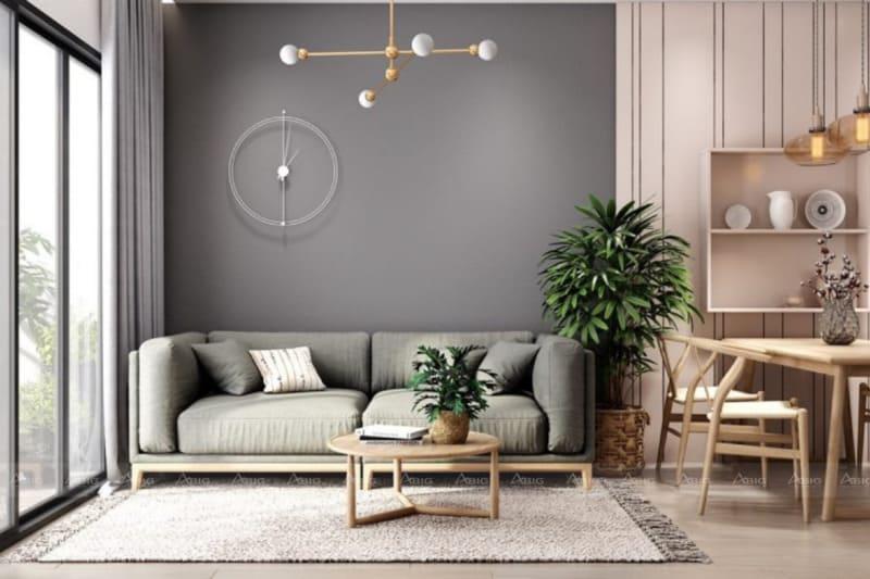 màu xám ghi đậm được sử dụng làm điểm nhấn cho căn hộ