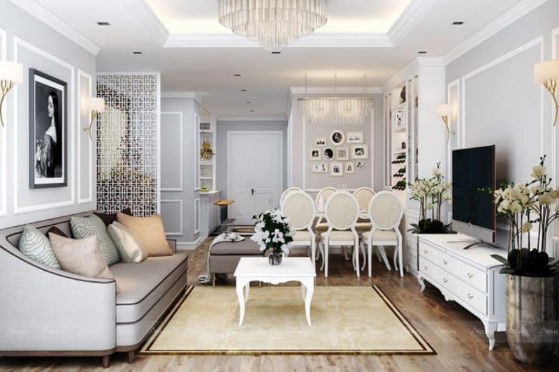 thiết kế nội thất căn hộ chung cư theo phong cách tân cổ điển