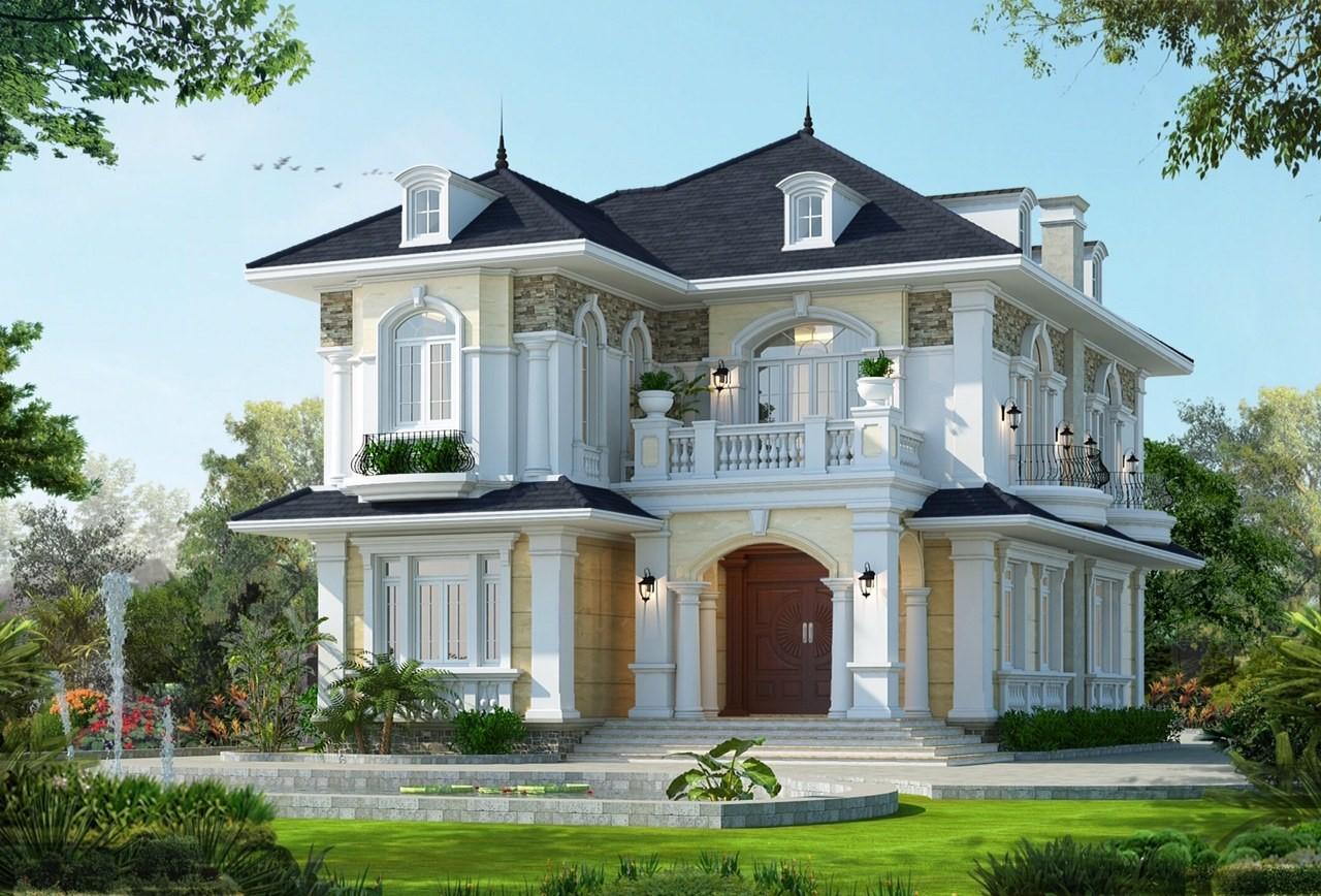 Mẫu biệt thự tân cổ điển phong cách Mỹ được thiết kế với gam màu nhẹ nhàng