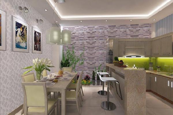Không gian bàn ăn và bếp ngăn cách bởi quầy bar tiện lợi