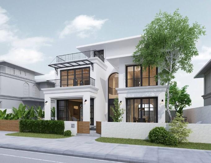 Biệt thự 2 tầng mái bằng thiết kế phong thủy đẹp, đơn giả