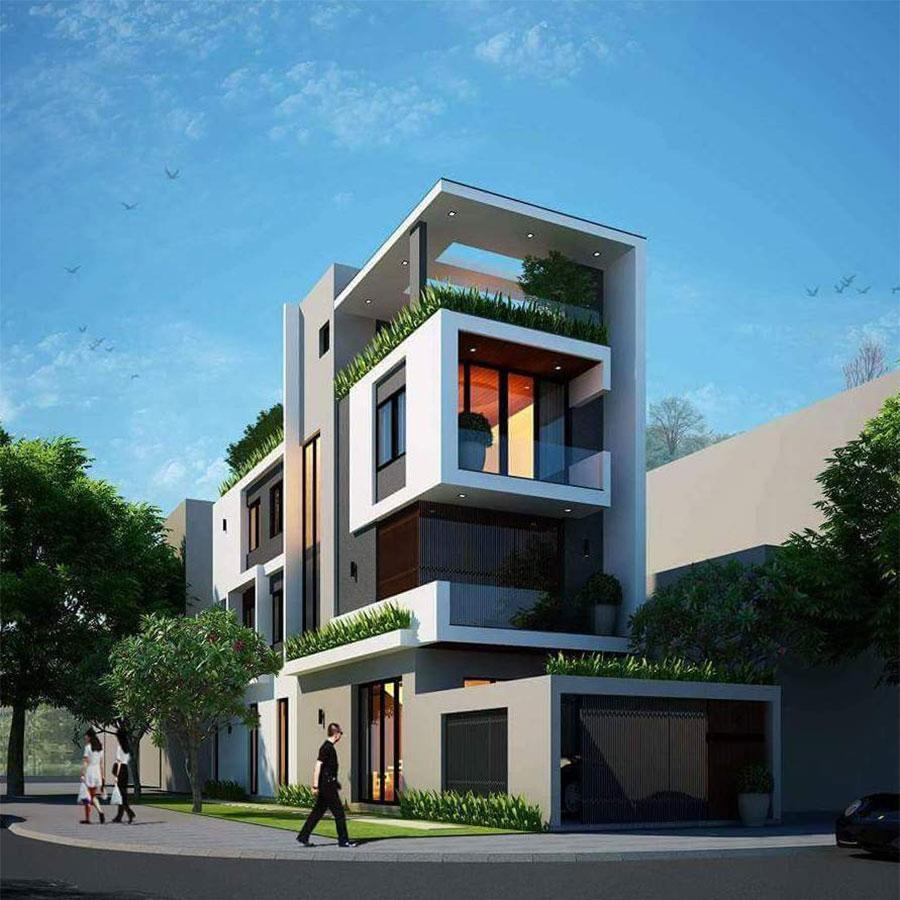 Mẫu nhà phố với kiến trúc ngoại thất là những hình hộp độc đáo, tạo sự mạnh mẽ nhưng cũng rất uyển chuyển cho toàn bộ công trình.