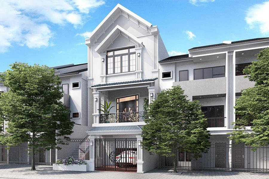 Mẫu nhà phố 3 tầng mái ngói đẹp