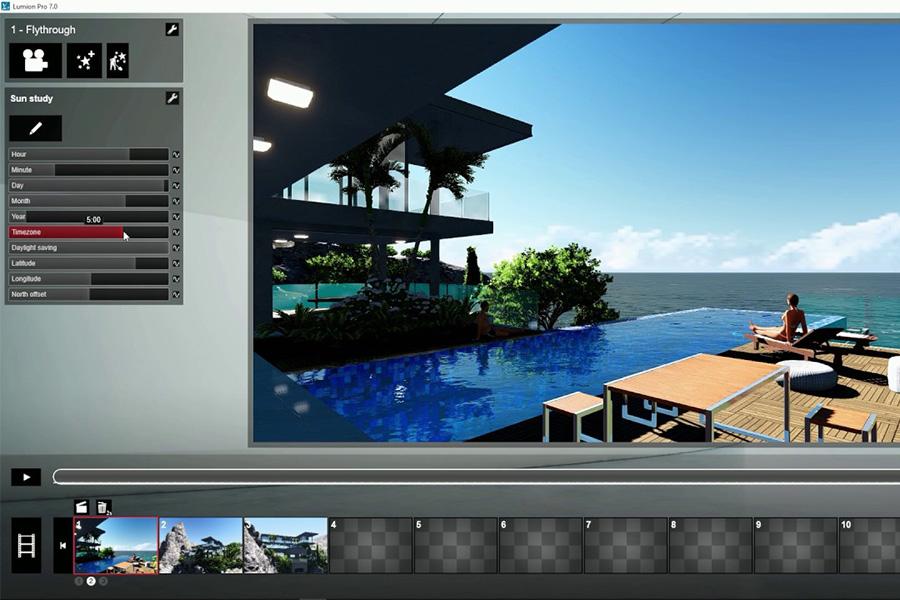 Giao diện thiết kế của phần mềm Lumion Pro 7.0.