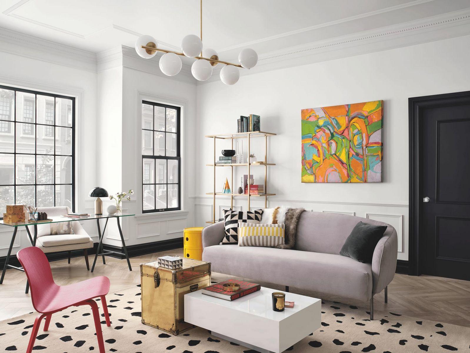Phối màu nội thất theo sự đối lập giữa màu nóng và màu lạnh.
