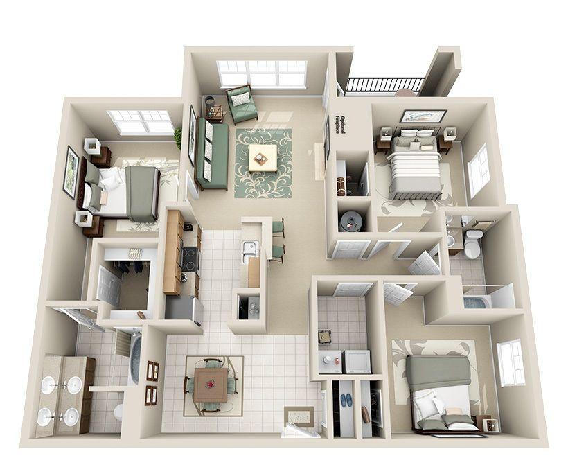 Căn hộ chung cư 3 phòng ngủ mẫu thiết kế 1