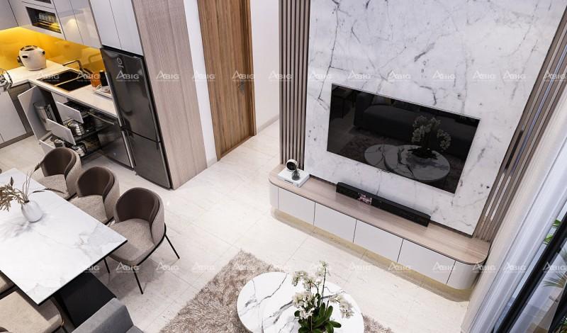 Sử dụng tivi treo tường cho căn hộ mini là thiết kế thông minh