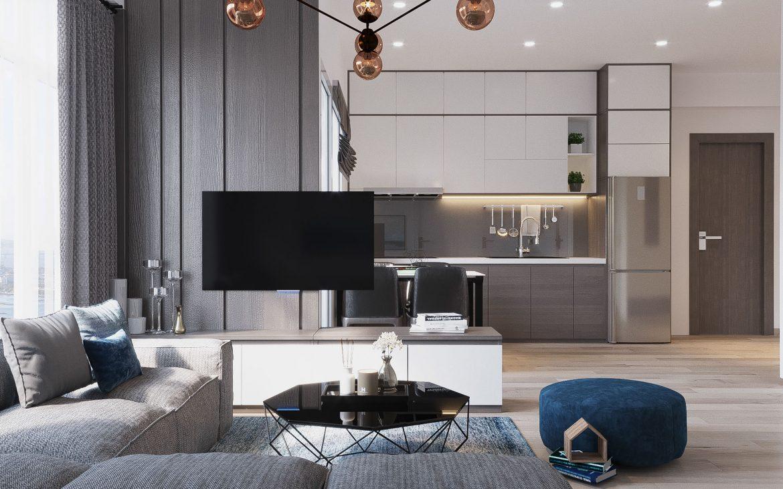 Mẫu thiết kế nhà chung cư đẹp 60m2 có 2 phòng ngủ