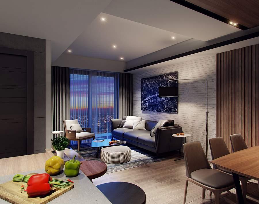Mẫu thiết kế nhà chung cư đẹp 60m2 phòng khách liên thông phòng bếp