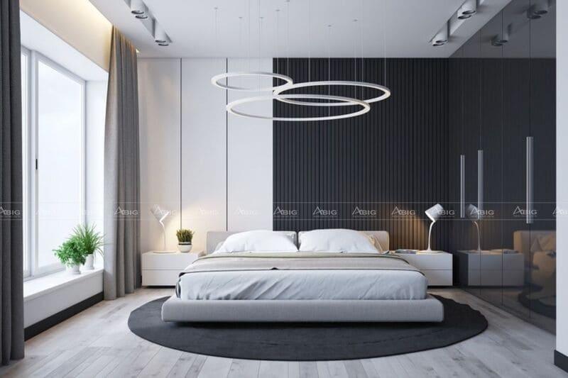 không gian phòng ngủ chính được thiết kế trẻ trung cá tính với gam màu đối lập đen trắng