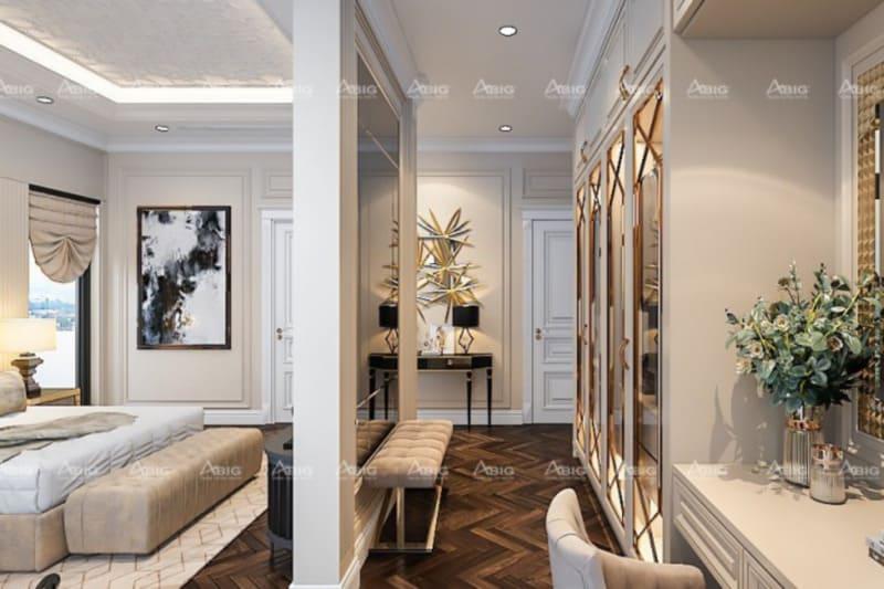 không gian phòng thay đồ và trang điểm thiết kế tinh tế hài hòa