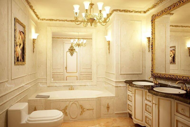 phòng vệ sinh được thiết kế vô cùng chi tiết tỉ mĩ
