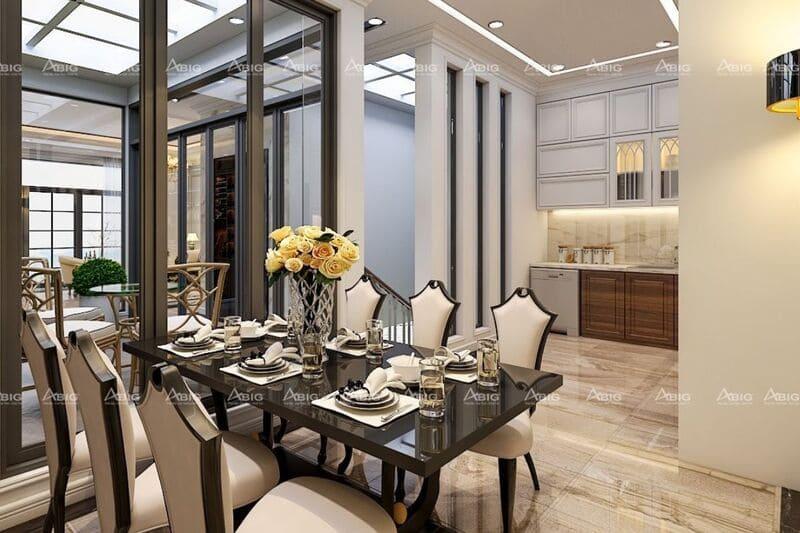 thiết kế nội thất phòng ăn không quá cầu kì nhưng vẫn rất xa hoa
