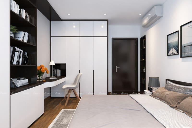 nội thất phòng ngủ sử dụng chất liệu acrylic giúp căn phòng trở nên nổi bật lung linh