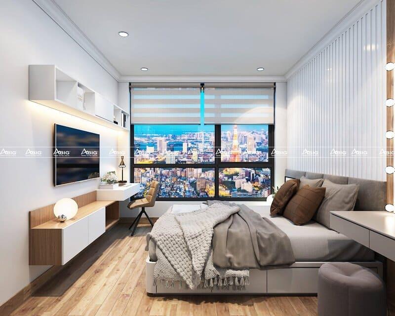 phòng ngủ chính cho vợ chồng với tông màu nhẹ nhàng thư giãn