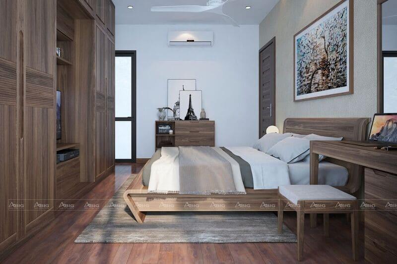 thiết kế full concept gỗ óc chó sang trọng cho phòng ngủ chính