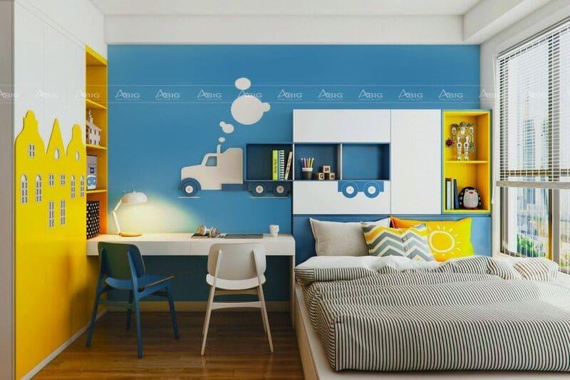 phòng ngủ cho bé với thiết kế gam màu đối lập vàng và xanh dương