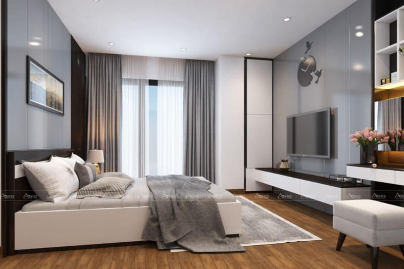 phòng ngủ phụ với gam màu xám trung tính tạo cảm giác thư thái