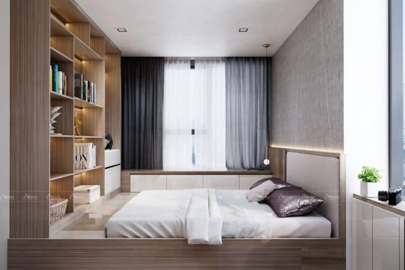 phòng ngủ phụ với thiết kế tủ đồ đụng trần tích hợp giường ngủ