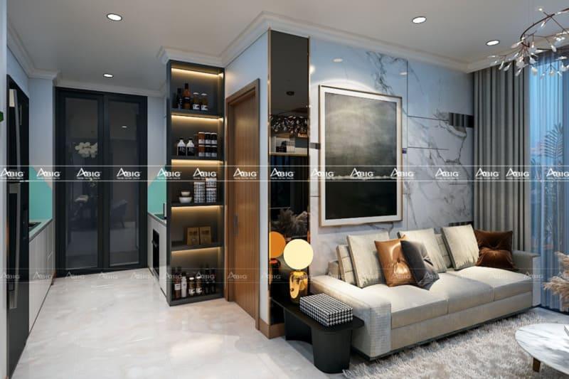 thiết kế bếp hai chiều với tủ âm tường thông minh