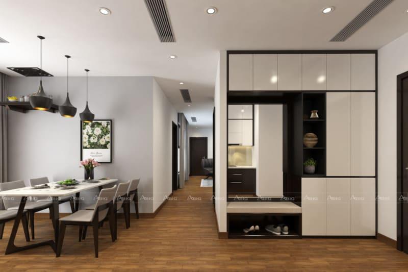 thiết kế không gian tổng thể với tông màu trắng chủ đạo xuyên suốt