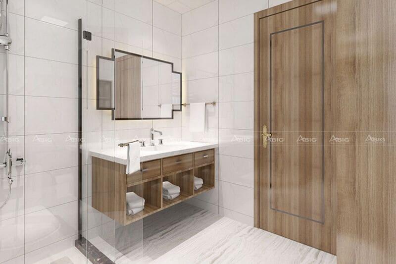 thiết kế nhà vệ sinh với các kệ tủ và cửa chính làm từ gỗ óc chó