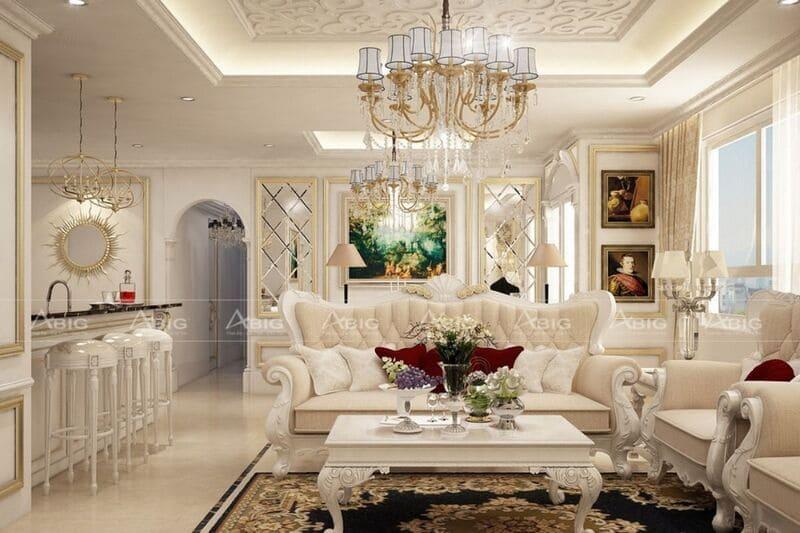 thiết kế nội thất căn hộ chung cư 3 phòng ngủ phong cách châu âu