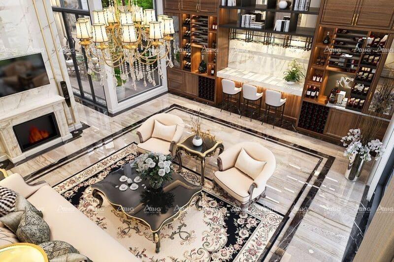 thiết kế nội thất căn hộ chung cư 3 phòng ngủ phong cách tân cổ điển