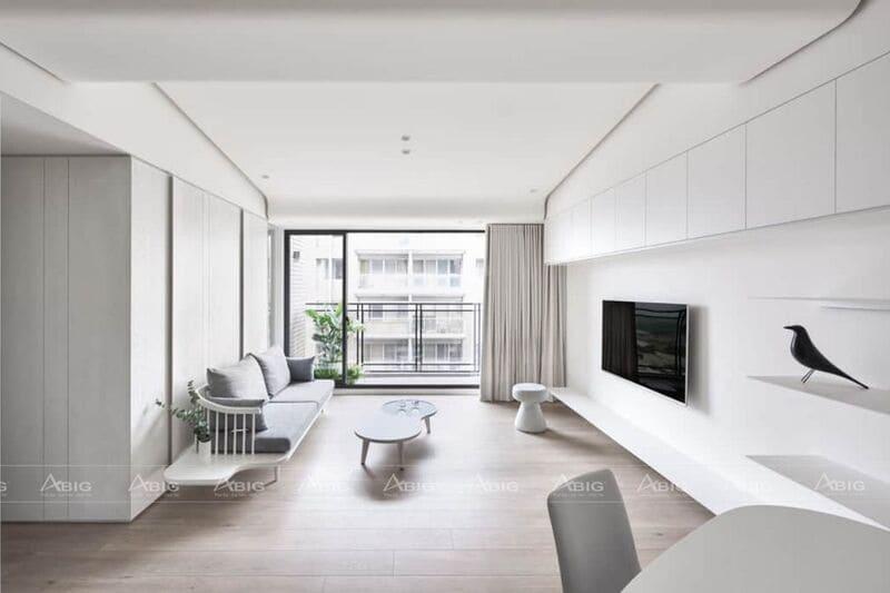 thiết kế nội thất căn hộ chung cư 3 phòng ngủ phong cách tối giản minimalism