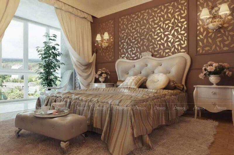 phòng ngủ chính được thiết mang đậm văn hóa phương tây quyền quý