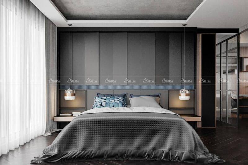 phòng ngủ chính được thiết kế tối giản với 3 tông màu đen xám và trắng