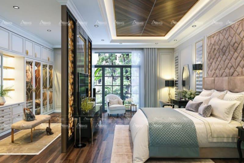 thiết kế phòng ngủ lớn sang trọng rộng rãi và không kém phần tráng lệ