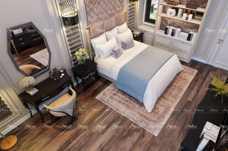 thiết kế phòng ngủ phụ pha trộn giữa nét hiện đại và cổ điển