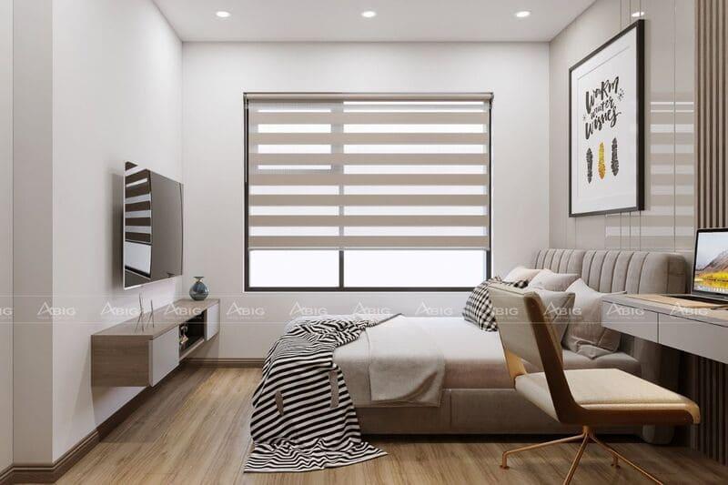 thiết kế phòng ngủ phụ tiện nghi với các họa tiết nội thất tối giản