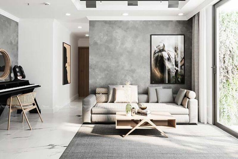 không gian phòng khách của căn hộ được thiết kế rộng rãi thông thoáng