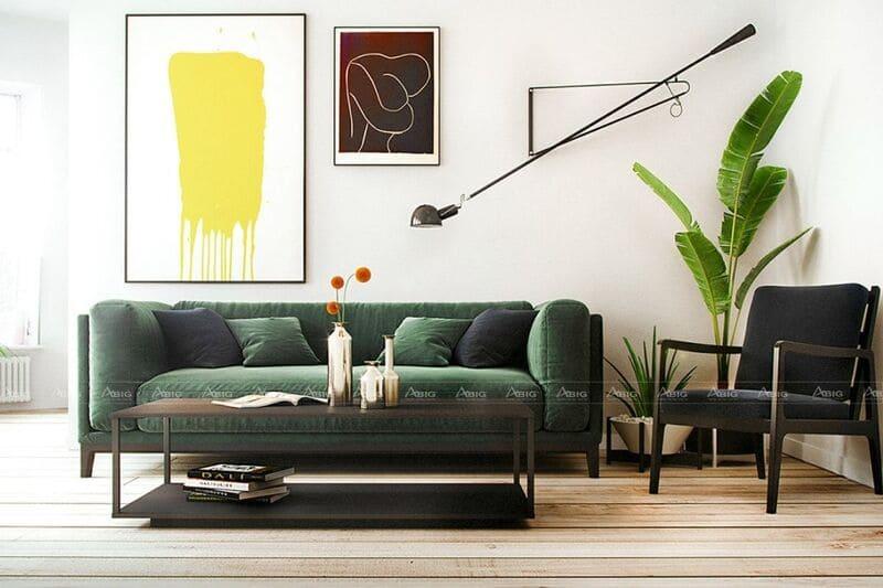 thiết kế nội thất cho phòng khách căn hộ chung cư 45m2 1 phòng ngủ