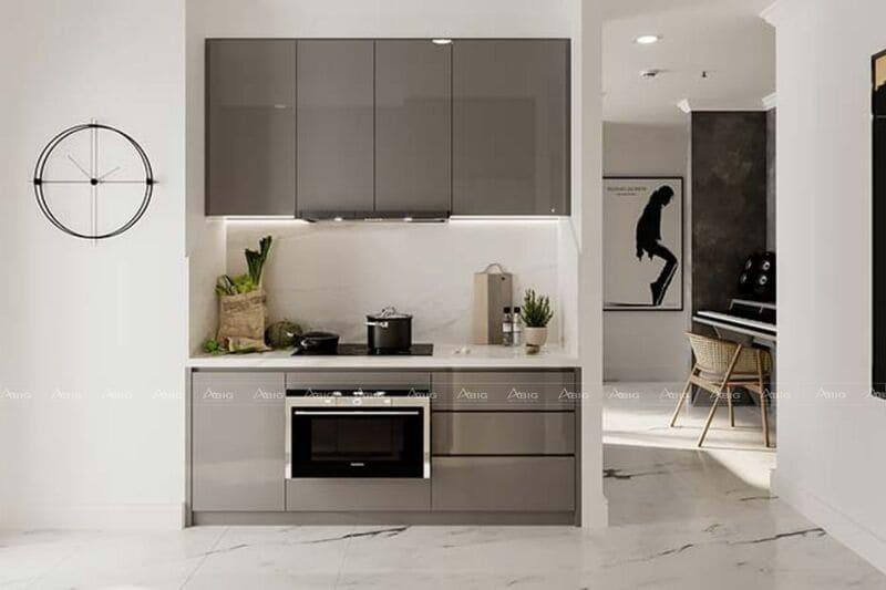 khu bếp được thiết kế tinh gọn, thông minh và gọn gàng