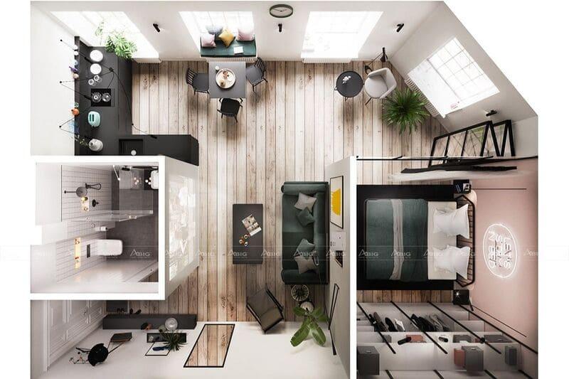 mẫu thiết kế nội thất căn hộ chung cư 45m2 1 phòng ngủ