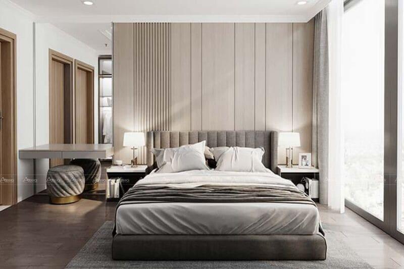 thiết kế phòng ngủ chính tối giản nhưng rất sang trọng