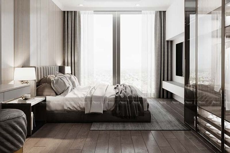 toàn bộ không gian phòng ngủ tiện nghi tràn ngập ánh sáng tự nhiên