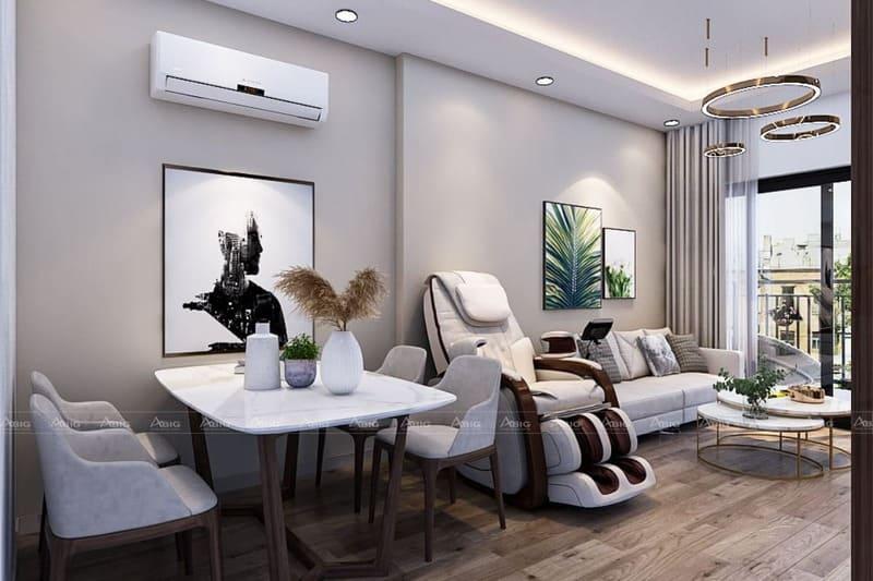 không gian phòng khách và phòng ăn được thiết kế liền mạch